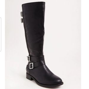 Black faux leather tall boots wide width & calf